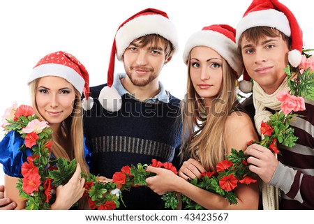 Group of young people celebrating christmas.