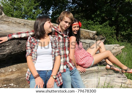 Group of young people enjoying the nature