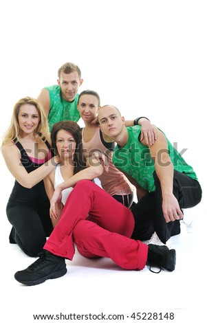 group of young people group have  fun and recreating fitness isolated on white
