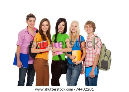 Group of young people, happy excited smiling students standing in a line holding notebooks, friends isolated on white background
