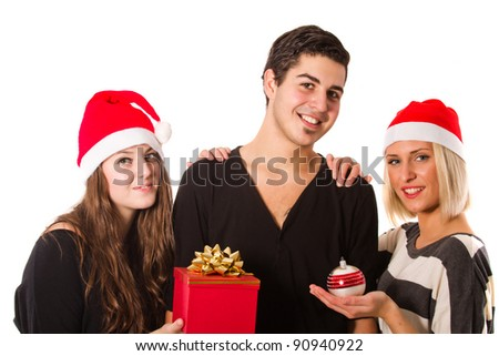 Group of young people having fun with christmas