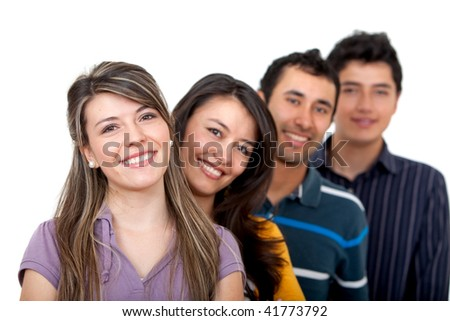 Group of young people in a row isolated over a white background - stock photo
