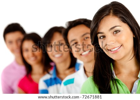 Group of young people in a row ? isolated over a white background