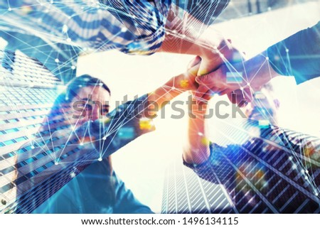 Group of young people make an agreement. Double exposure with network effects #1496134115