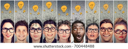 Group of young people men and women with many ideas light bulbs above head looking up.