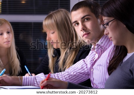 group of young people on meeting or business school, selective focus