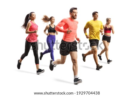 Group of young people running a race isolated on white background