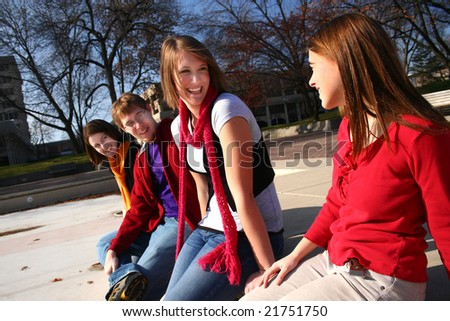 Group of young people talking