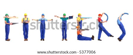Group of young people wearing different color uniforms and hard hats forming Fitters word - isolated on white background