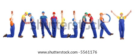 Group of young people wearing different color uniforms and hard hats forming January word - isolated on white background - calendar concept