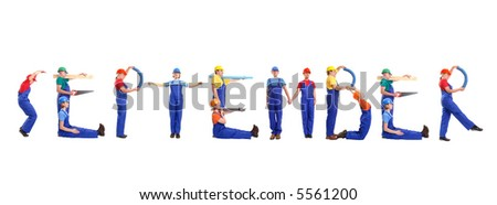 Group of young people wearing different color uniforms and hard hats forming September word - isolated on white background - calendar concept