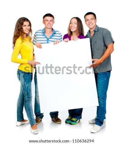group of young people with a white banner