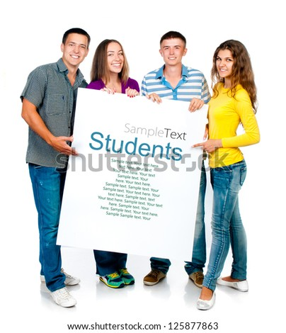 group of young people with a white banner (sample text)
