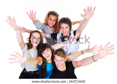 Group of young people with hands up - happiness concept