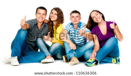 group of young people with thumbs up in a white background