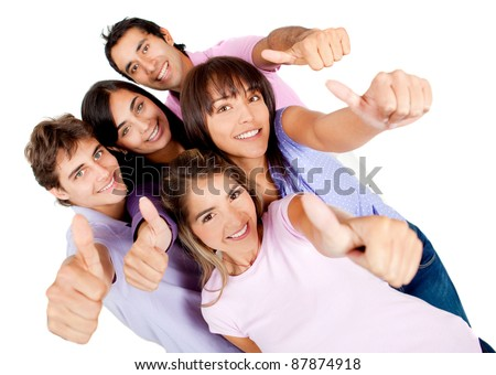 Group of young people with thumbs-up - isolated over a white background
