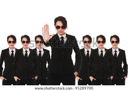Group of young secret service agents or police officers isolated over white background