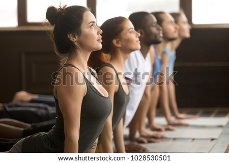 Group of young sporty afro american and caucasian people practicing yoga lesson, stretching in upward facing dog exercise, Urdhva mukha shvanasana pose, working out, indoor close up, studio side view