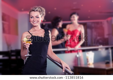 group of young women in the bar