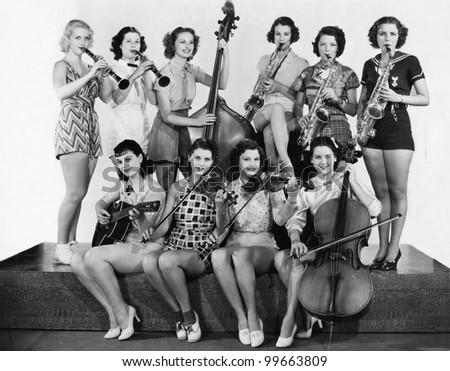 Group of young women playing instrument
