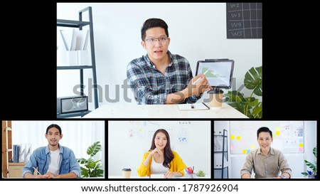 Group on young Asian business people, office coworkers on video online conference call, remote team meeting collage screen. New normal social distancing lifestyle, work from home concept