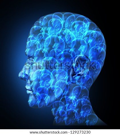 Group organization with a business team of partners working together as one unit for financial success as one large human head made of smaller faces on a black background.