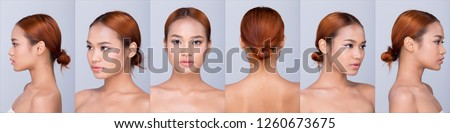 Group pack collage of Beautiful Clean Skin Asian Woman straight black hair with hands arms fingers face pose open shoulder smile, studio lighting white background copy space, for show 360 around model #1260673675