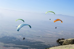 group paragliding, extreme sport stock photo