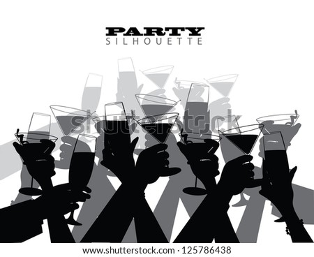 Group Party Toast Silhouette