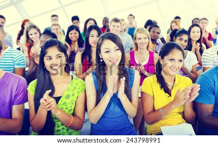 Group People Casual Learning Lecture Applause Clapping Concept