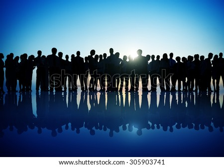 Group People Corporate Business Standing Silhouette Concept #305903741