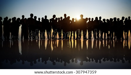 Group People Corporate Business Standing Silhouette Concept #307947359