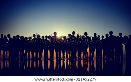 Group People Corporate Business Standing Silhouette Concept #321452279