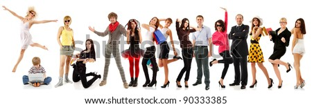 group people happy isolated on white background