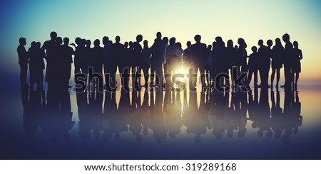 Group People Silhouette Gathering Sunrise Concept #319289168