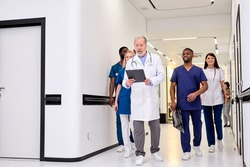Group photo of young diverse medics during conversation with senior confident doctor in hospital corridor aisle. medicine concept