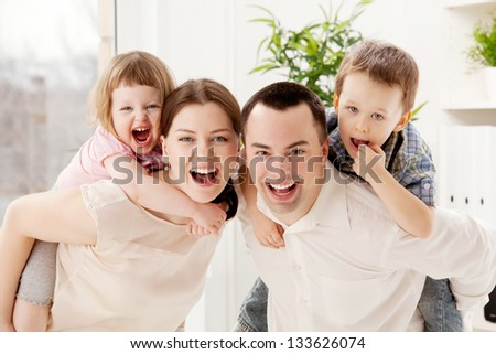 Group portrait of a playful family
