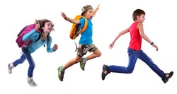 Group portrait of happy schoolgirl and schoolboys with a backpacks  running and jumping together. Isolated over white background. Education childhood concept