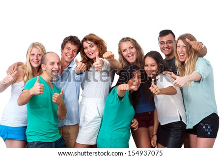 Group portrait of young people doing thumbs up.Isolated on white.