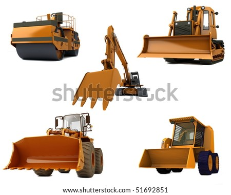 Group Road machinery isolated on white background
