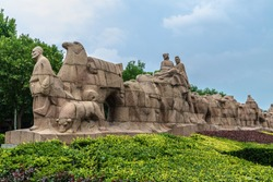 Group sculptures of the Silk Road in Xi'an, Shaanxi, China, Xi'an is the starting point of the Silk Road