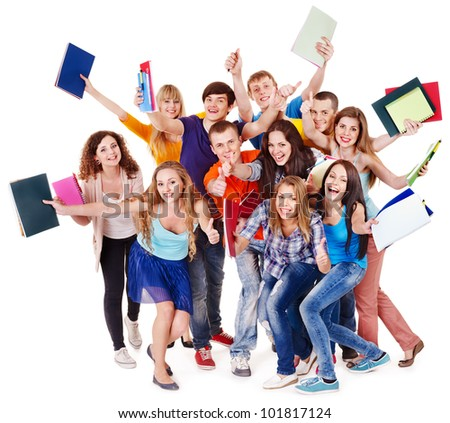Group student with notebook isolated.