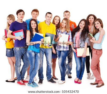 Group student with notebook isolated .