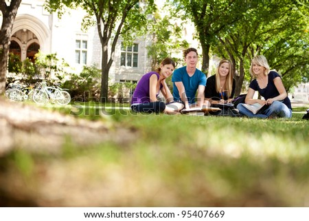 Group study session with four students
