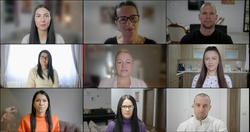 Group Using Video Conferencing technology in office for video call with colleagues abroad. People look at web cameras listen webinar lecture participate group conference call with female leader.