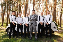 Group wedding photo of elegant groom in grey suit and groomsmen with black bow ties and suspender at wedding day