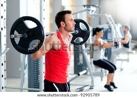 group with dumbbell weight training equipment on sport gym stock photo