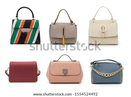 group women color leather handbags isolated on white background