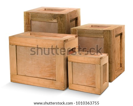 Group wooden crates isolated From white background #1010363755