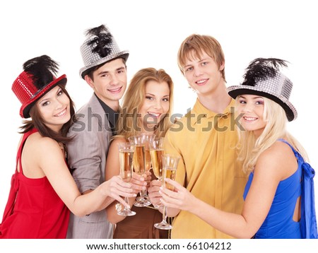 Group young people in party hat drinking champagne. Isolated.